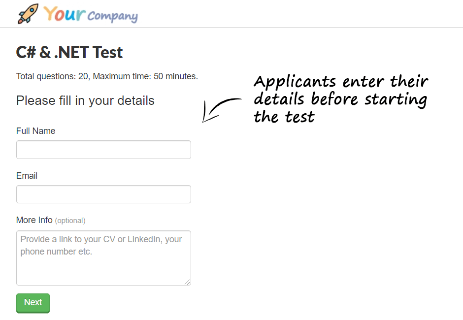 Applicants enter their details before starting the test