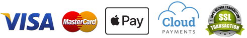 Pay with Visa, MasterCard or Apple Pay